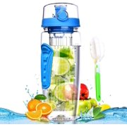 Fruit Infuser Water Bottle 32 oz: Flavored Water & Tea Infusion for Hydration, Protein Shake Sports Container, Leak-Proof Lid, Long Infuser Basket  with Sleeve, Cleaner Brush -Blue