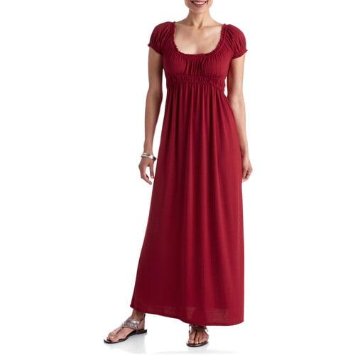 Stitch Women's Peasant Cap Sleeve Woven Maxi Dress
