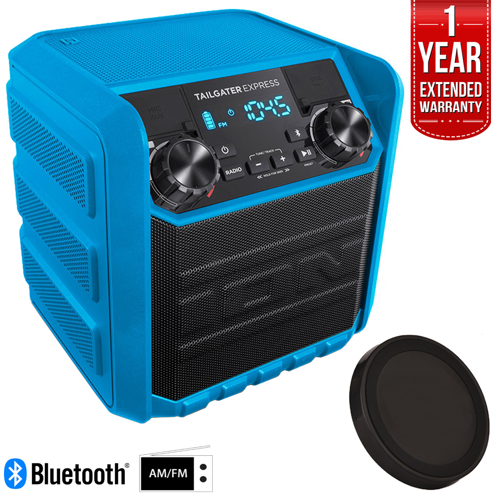 Ion Audio Tailgater Express 20W Water-Resistant Compact Bluetooth Speaker System, Blue (TAILGATEREXBLUEXCA) Deluxe Bundle w/ Wireless Phone Charger + 1 Year Extended Warranty