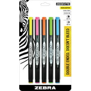 Zebra Zebrite Double-Ended Highlighter, Chisel and Fine Point, Assorted Colors, 5-Count