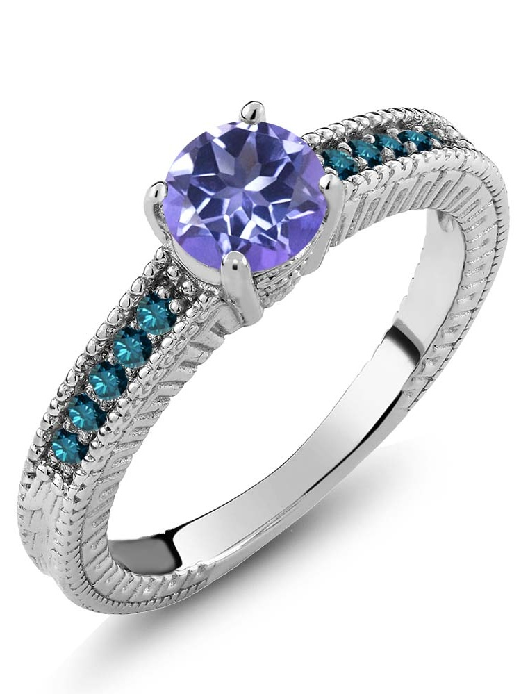 1.17 Ct Round Purple Blue Mystic Topaz Blue Diamond 14K White Gold Ring by