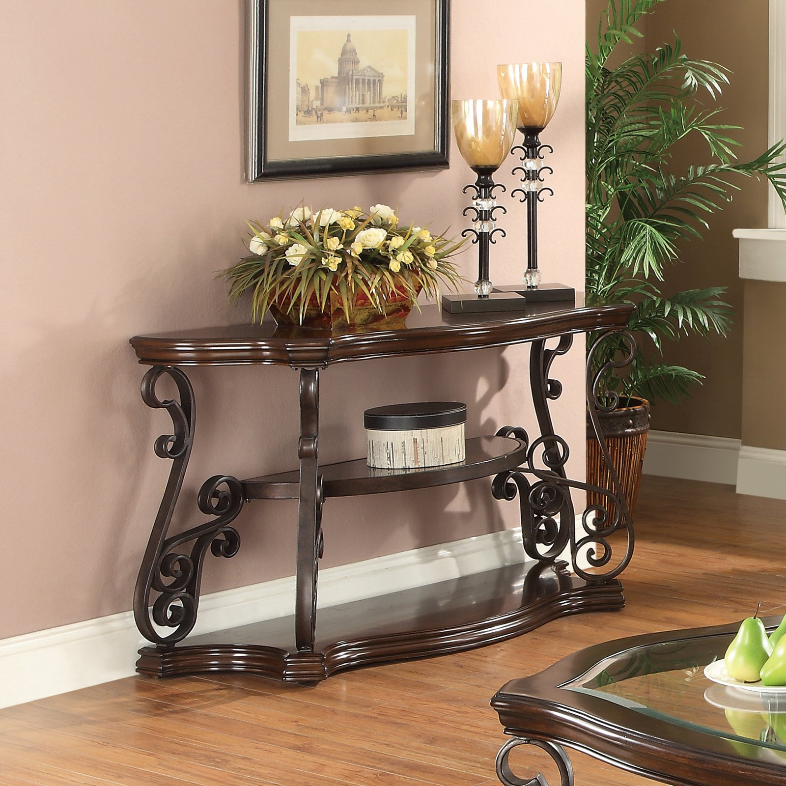Coaster Furniture Crescent Sofa Table with 2 Shelves