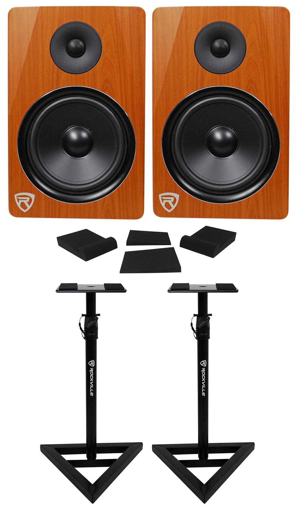 "2) Rockville DPM8C Dual Powered 8"" 600 Watt Active Studio Monitors+Stands+Pads by ROCKVILLE"