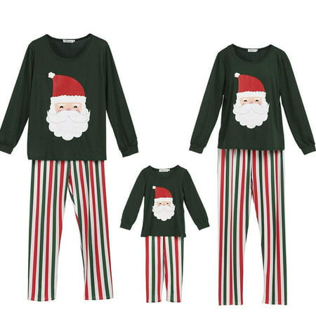 Family Matching Pajamas Set Santa Claus Tops and Stripes Long Pants Sleepwear for Family Christmas Holiday (Sleep Pants Pjs)