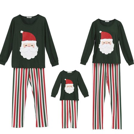Family Matching Pajamas Set Santa Claus Tops and Stripes Long Pants Sleepwear for Family Christmas Holiday - Xmas Pjs For Family