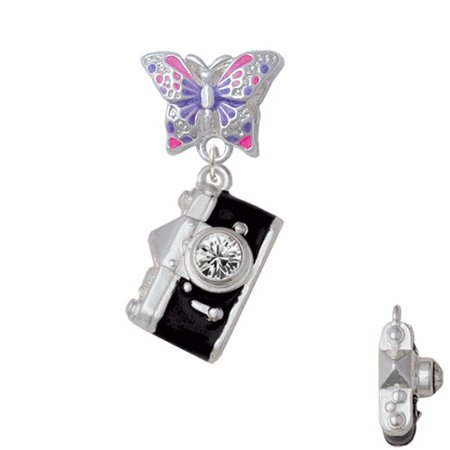 Black Camera - Butterfly Charm Bead