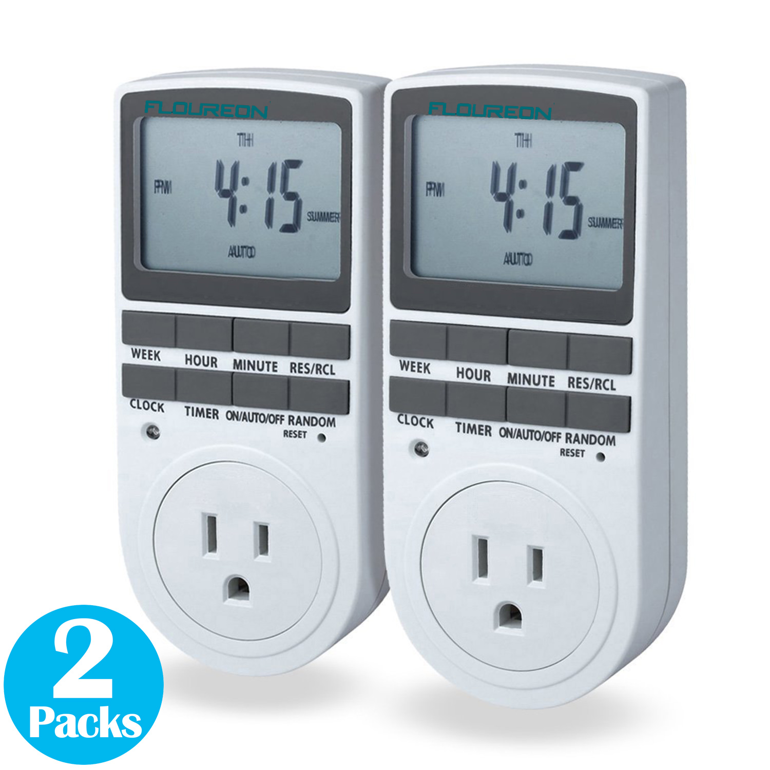 Smart Digital Light Timer with 3-Prong Outlet 7-day Programmable Plug-in Electrical Switch... by
