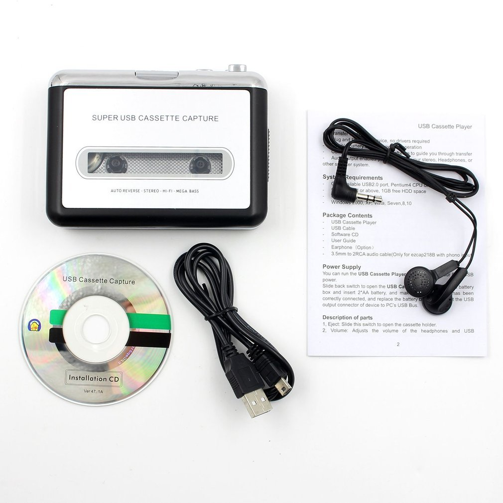 Portable Tape Cassette Convert To MP3 Player Converter With USB Cable Audio Capture Music Player Plug And Play USB Device