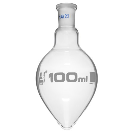 Boiling Flask with Joint, 100ml - Socket Size 14/23 - Pear Shape, Short Neck - Interchangeable Joint - Borosilicate Glass - Eisco (Uses Of Pear Shaped Flask In Laboratory)