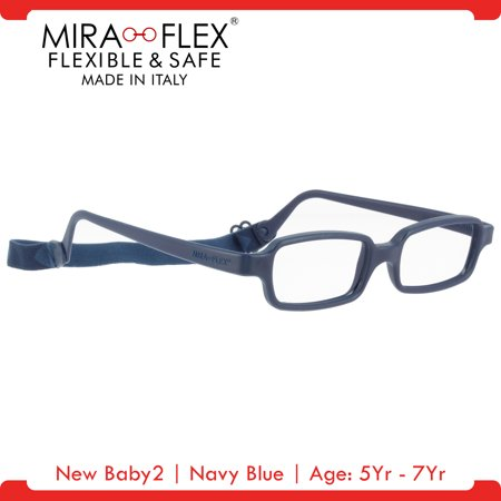 Miraflex: New Baby2 Unbreakable Kids Eyeglass Frames | 42/14 - Navy Blue | Age: 5Yr - (Kids Eyeglasses)