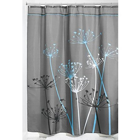InterDesign Thistle Fabric Shower Curtain, Long, 72 x 84 Inch, Gray ...