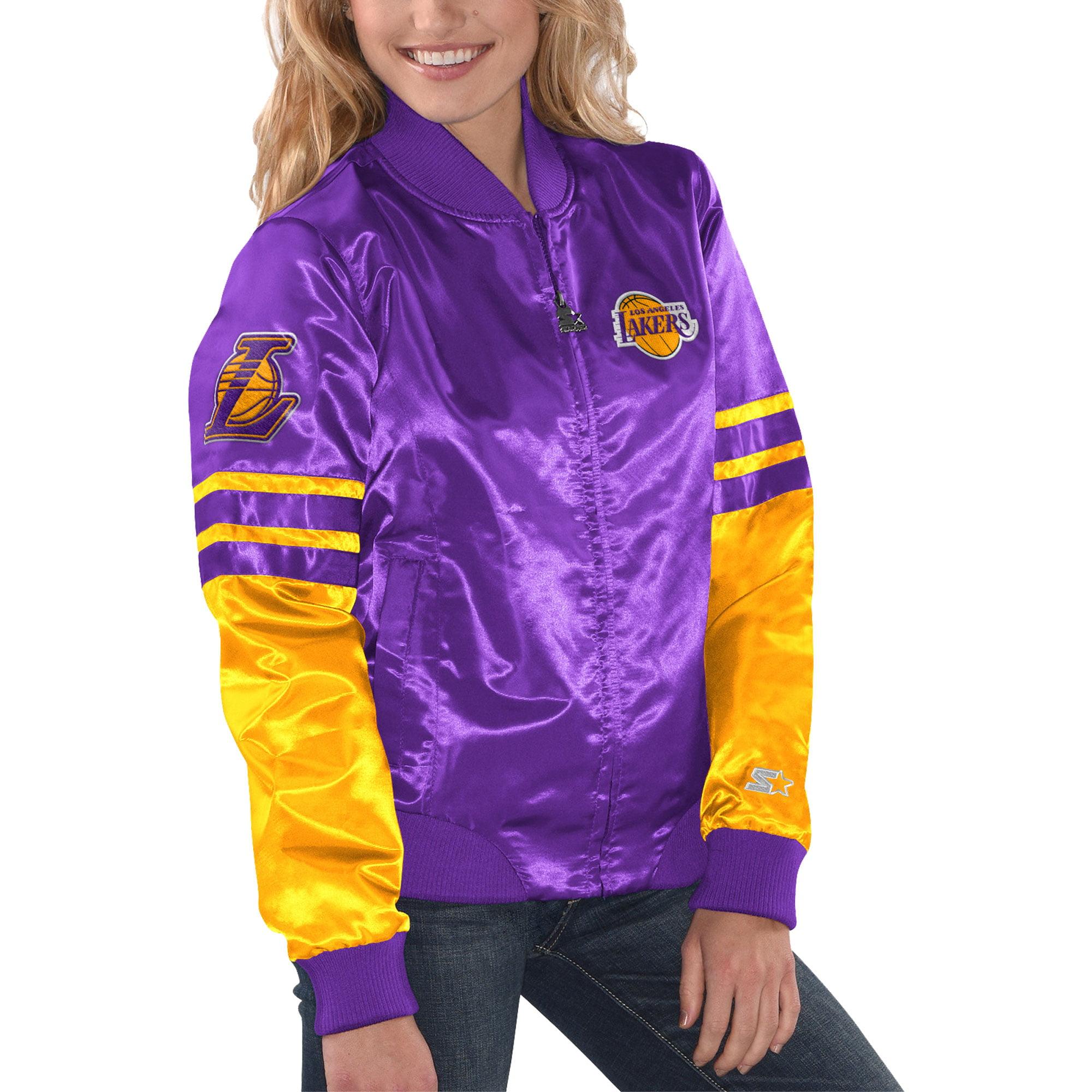 Los Angeles Lakers Starter Women's Tie Breaker Satin Jacket - Purple/Gold