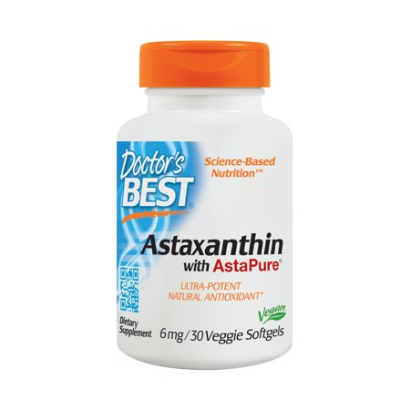 Doctor's Best Astaxanthin, Non-GMO, Vegan, Gluten Free, Soy Free, Powerful Antioxidant, 6 mg, 30 Veggie Softgels