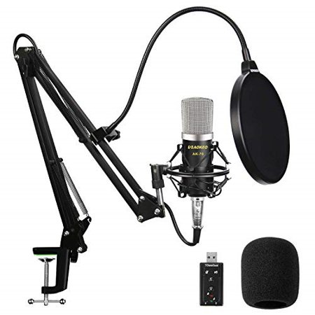 aokeo ak-70 professional studio live stream broadcasting recording condenser microphone with ak-35 suspension scissor arm stand, shock mount, pop filter, usb sound card and mounting (Best Piano Microphone For Live Sound)