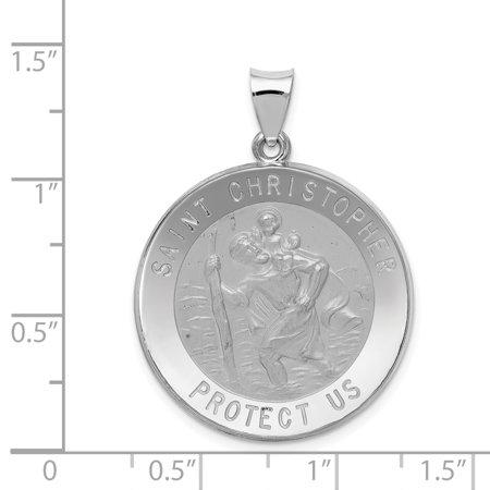 14K White Gold Polished and Satin St. Christopher Medal Pendant - image 2 de 2