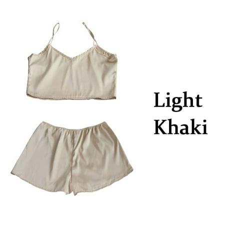 Ladies 2 Piece Pj - Women Comfort Pajamas Camisole Sets Tops + Shorts Two Pieces Sets Nightwear