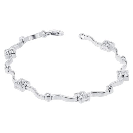 - Gem Avenue 925 Sterling Silver Cubic Zirconia Tennis Bracelet 7 Inch with Lobster Clasp