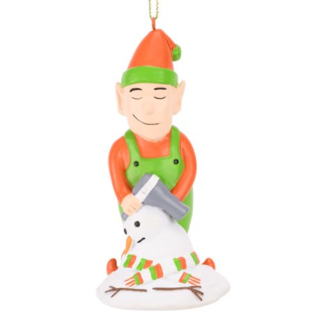 Tree Buddees Elf Hair Drying a Snowman Funny Christmas Ornament