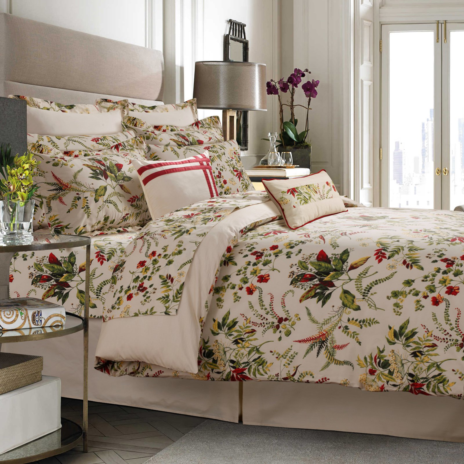 Tribeca Living Maui 300TC Egyptian Cotton Percale 5-Piece Printed Duvet Set