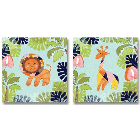 Adorable Colorful Baby Lion and Giraffe in the Jungle; Kids Room and Nursery Decor; Two 12x12. Blue/Green/Orange