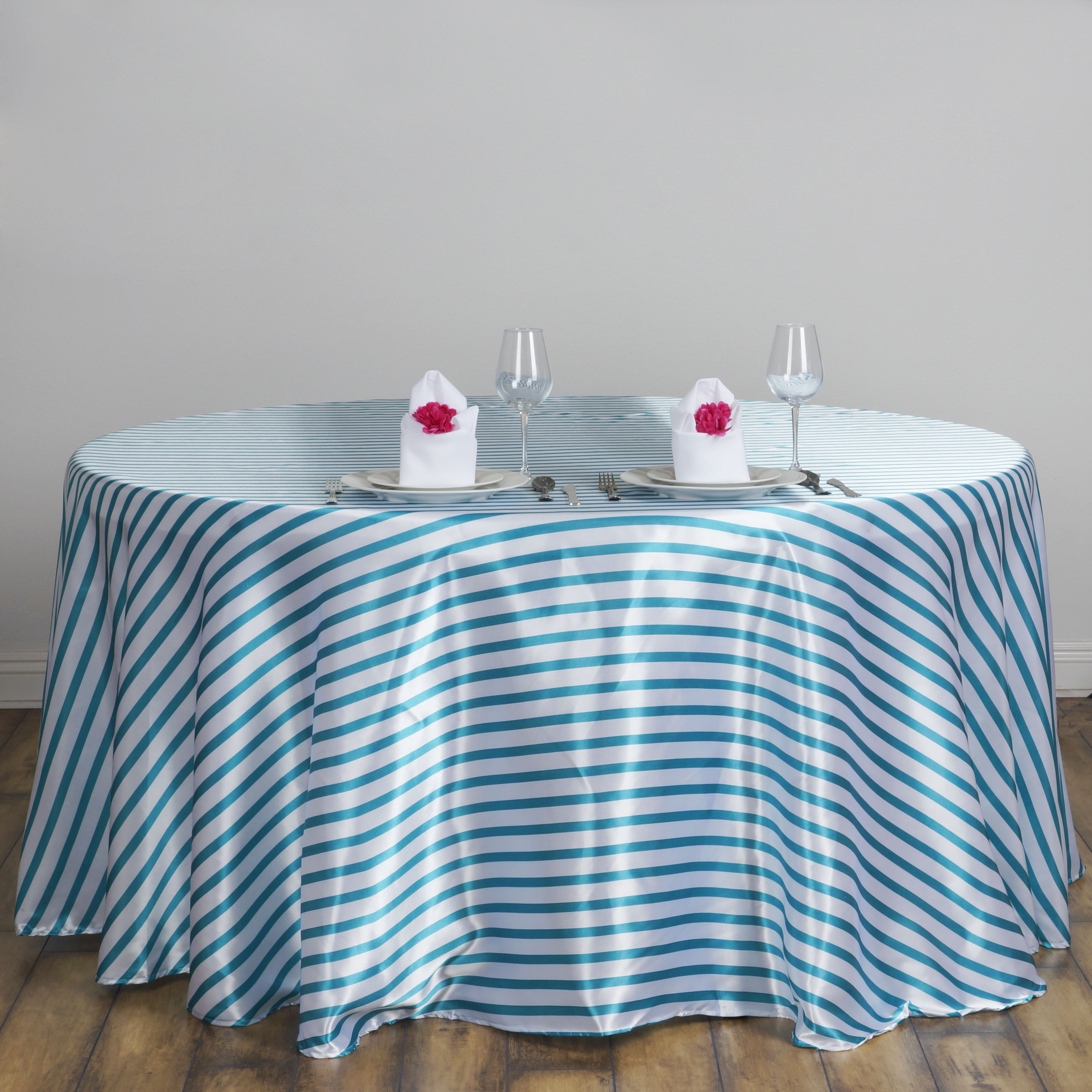 "Efavormart Ever Lovable Stripes Table Cloth 90"" Round for Kitchen Dining Catering Wedding Birthday Party Decorations Events"