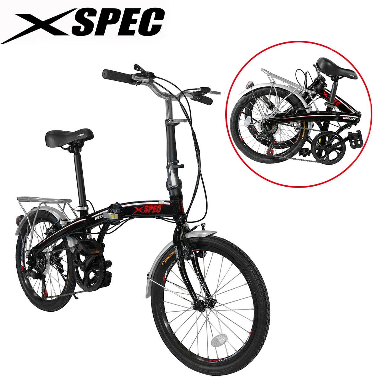 "Xspec 20"" 7 Speed City Folding Mini Compact Bike Bicycle Urban Commuter Shimano Black"