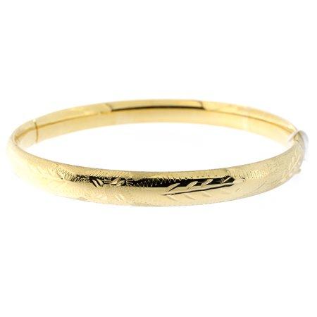 14k Yellow or White Gold 6mm Matte and Polished Diamond Cut Flower Bangle Bracelet, 7