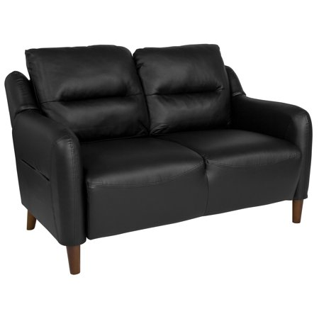 Newton Hill Flash Furniture Upholstered Bustle Back Loveseat in Black Leather