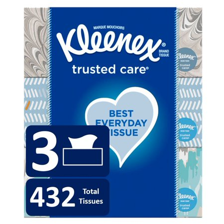 Kleenex Trusted Care Everyday Facial Tissues, 3 Flat Boxes (432 Total Tissues)