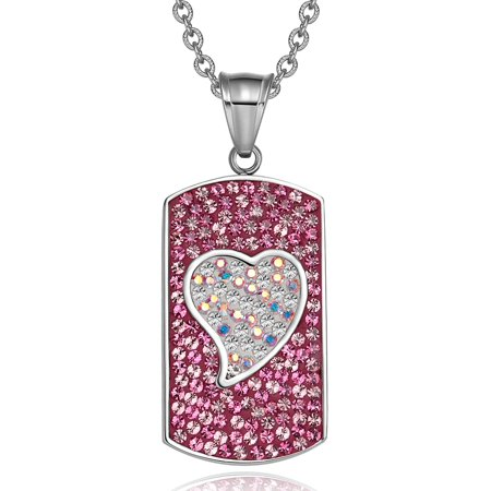 - Magic Heart Austrian Crystals Amulet Love Energy Hot Pink and Rainbow White Dog Tag Pendant 18' Necklace