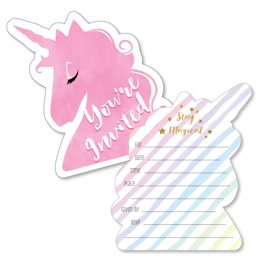 Rainbow Unicorn - Shaped Fill-In Magical Unicorn Baby Shower or Birthday Party Invitation Cards with Envelopes - 12 Ct