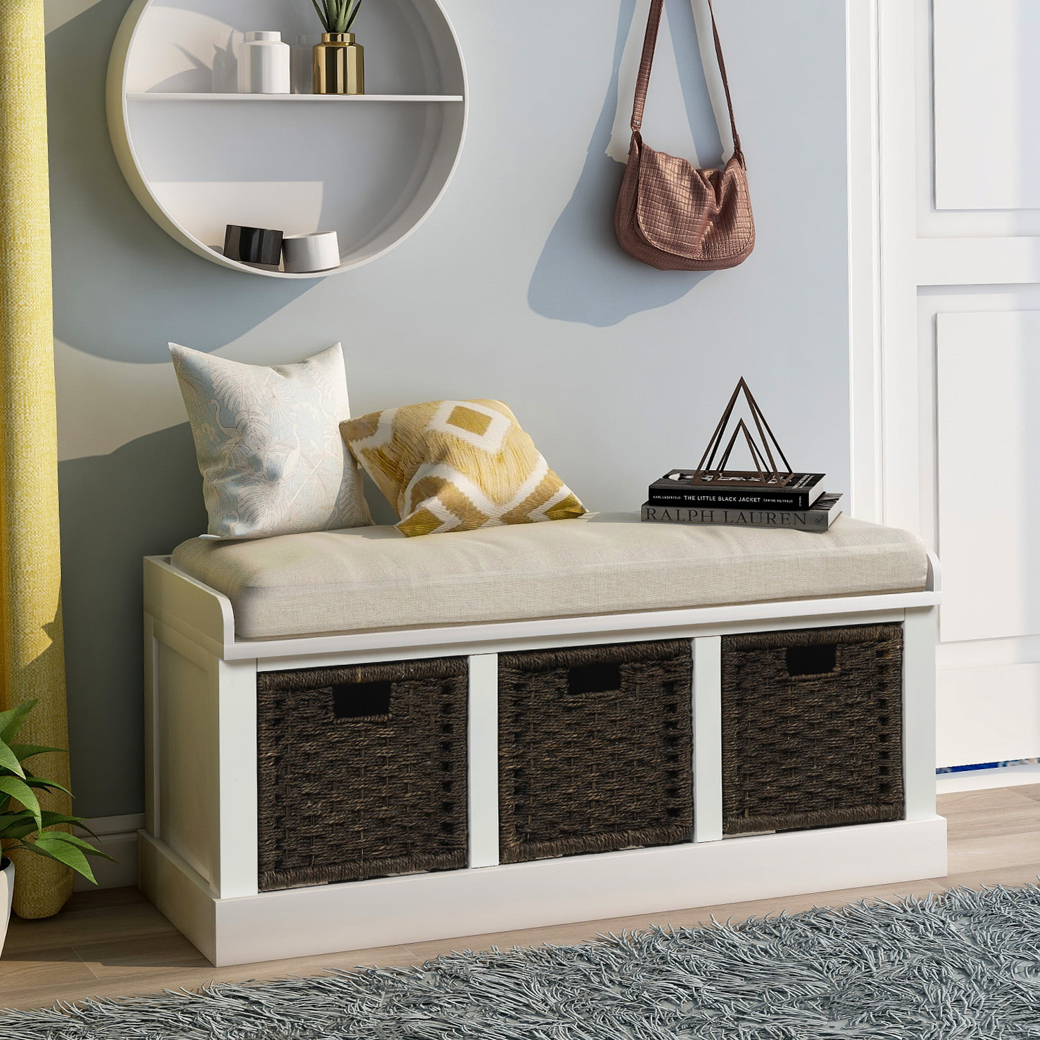 entryway storage bench rectangular footstool with 3