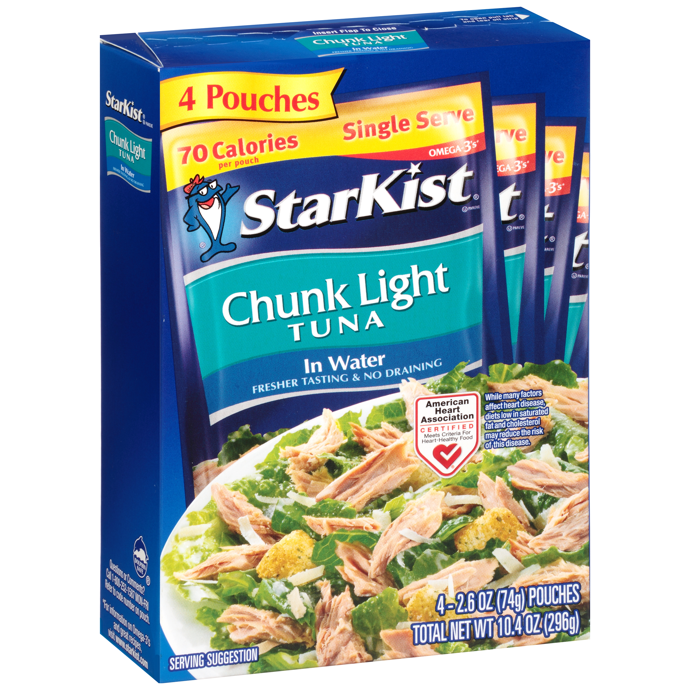 StarKist Chunk Light Tuna in Water - 2.6 Ounce Pouches (Pack of 4)