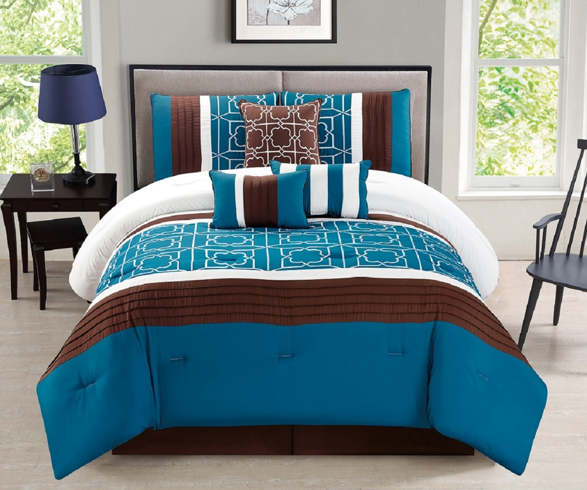Wpm 7 Pieces Complete Bedding Ensemble Brown Turquoise