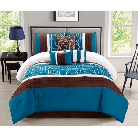 Oval Bed Ensemble (WPM 7 Pieces Complete Bedding Ensemble Brown turquoise blue white flower print Luxury Embroidery Comforter Set Bed-in-a-bag QUEEN size Bedding-Antonia)
