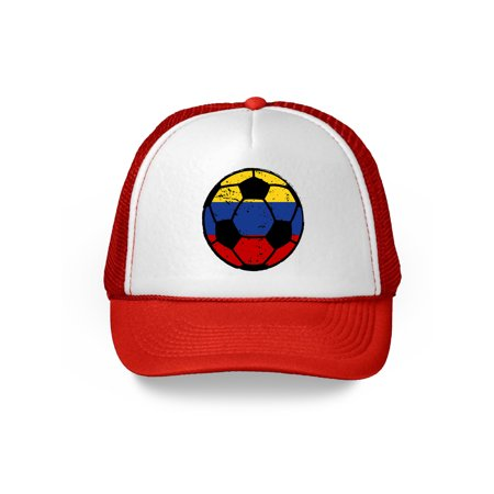 Awkward Styles Colombia Soccer Ball Hat Colombian Soccer Trucker Hat Colombia 2018 Baseball Cap Colombia Trucker Hats for Men and Women Hat Gifts from Colombia Colombian Baseball Hats Colombian Flag - Soccer Cap