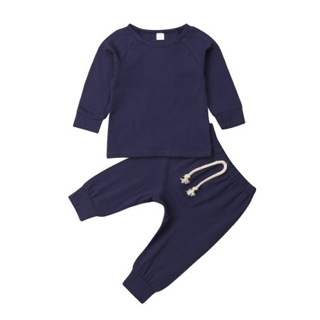 Baby Unisex Pajamas Top with Pants Set 2 Piece Outfit Organic Cotton Clothing Set for Infant Baby Boys Girls Blue Infant Two Piece