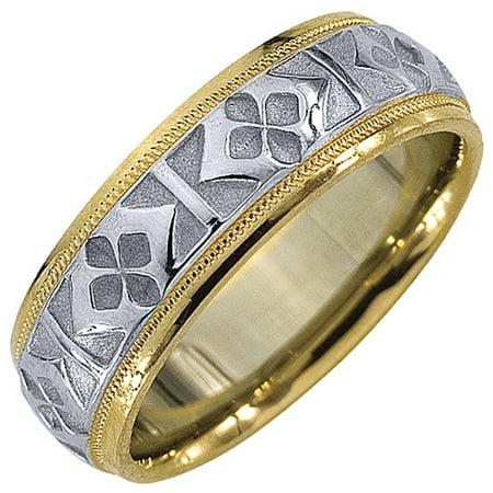 14K Two-Tone Gold Mens Wedding Band 6mm Satin Milgrain Comfort Fit