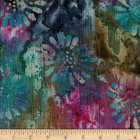 Indian Batik Crinkle Cotton Floral Teal/Wine/Multi Fabric By The Yard, Batik By Textile (Batik Fabric Textile)