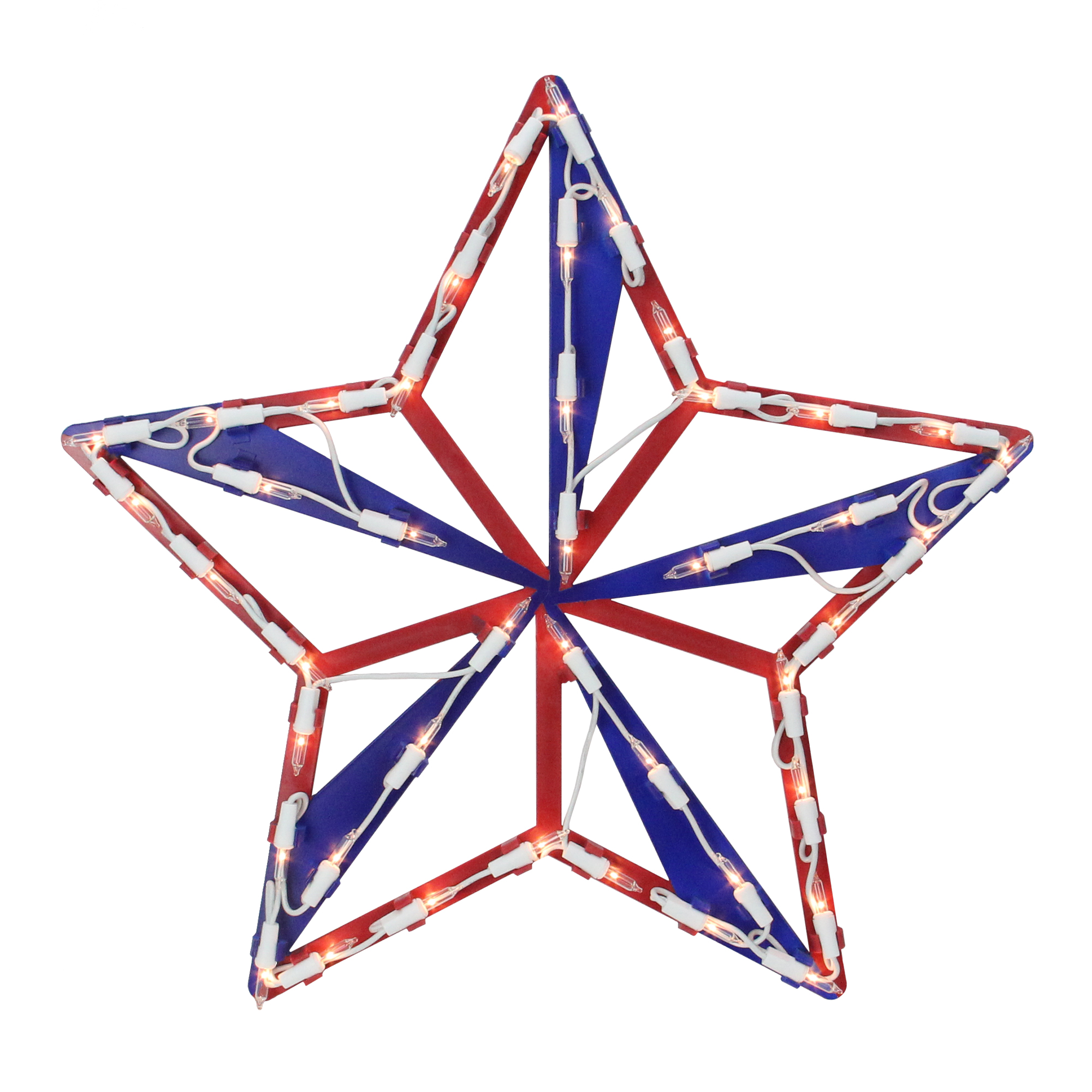 """15"""" Lighted Red White and Blue 4th of July Star Window Silhouette Decoration"""