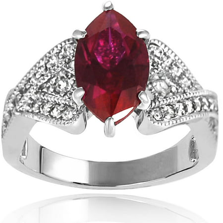 Alexandria Collection Women's Marquise-Cut Garnet Sterling Silver CZ Accent Engagement Ring