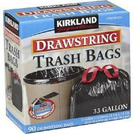 Kirkland Signature Drawstring Trash Bags - 33 Gallon - Xl Size - 90 Count (90