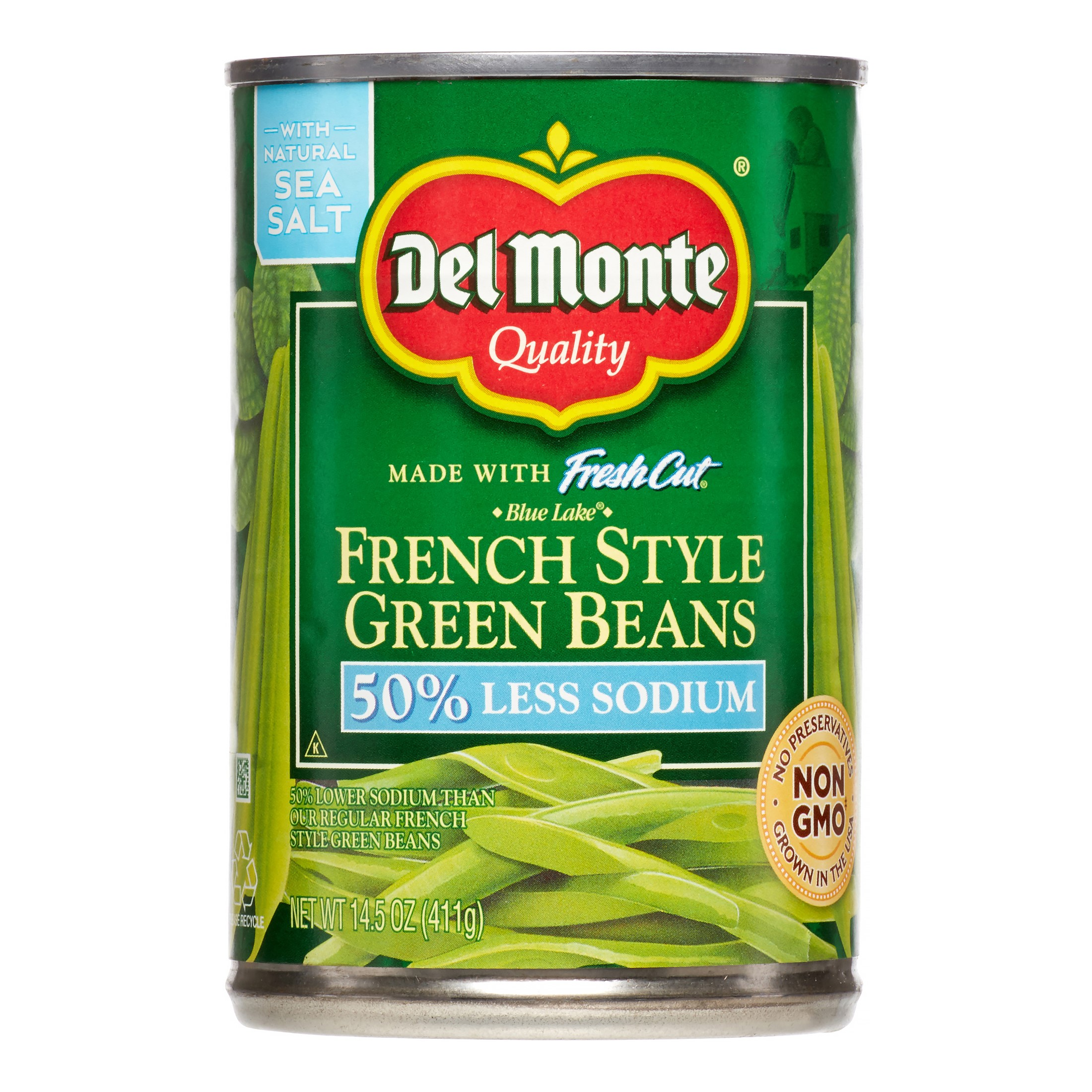 Del Monte Fresh Cut French Style Green Beans, 50% Less Sodium, 14.5 Oz