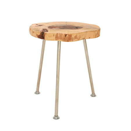 Decmode Natural 19 x 16 inch polished stainless steel and tamarind wood round accent table, Oak Brown