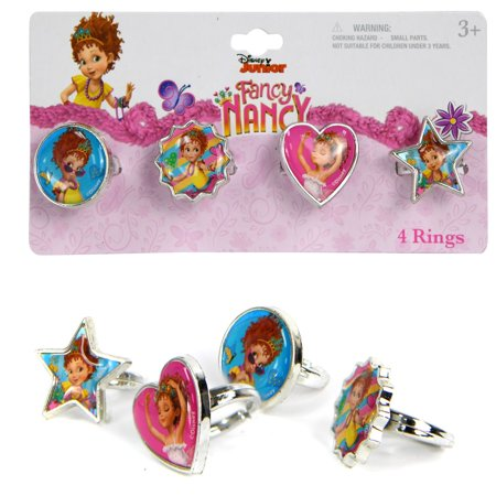 Disney Fancy Nancy Plastic 4 Fashion Rings Girls Dress-Up Toys & Games (4 (Barbie Hairstyle Games And Dress Up Games)
