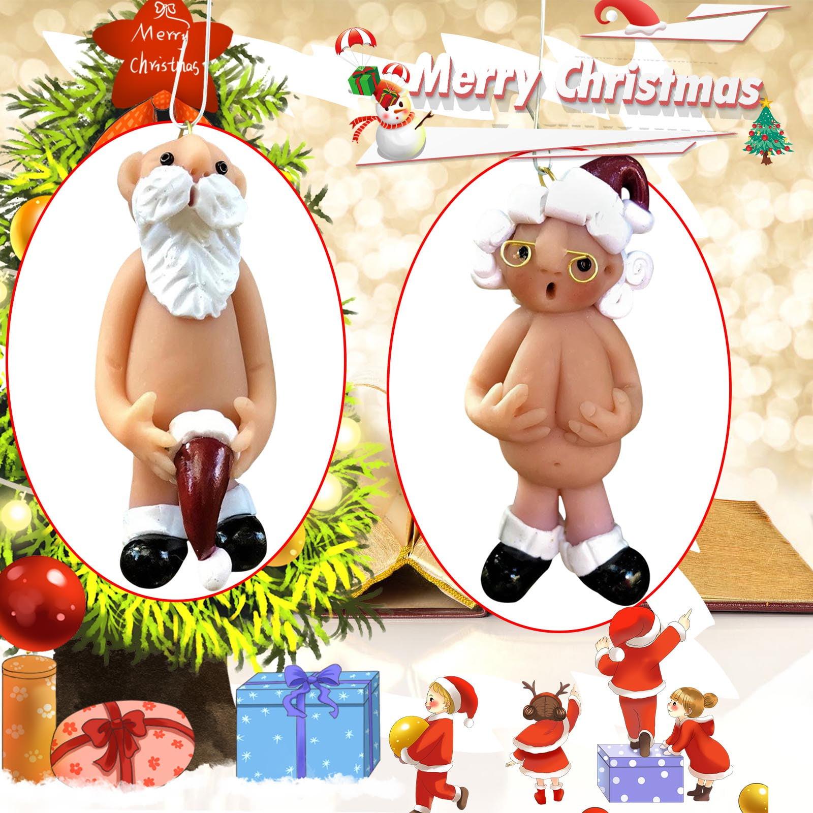 4PCS Naughty Santa Christmas Ornament Stocking Cap Santa Ornament Naked Santa US