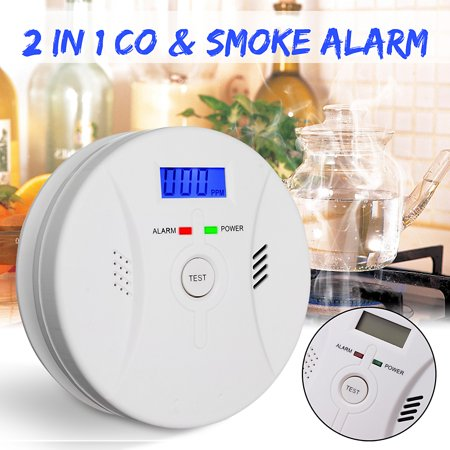2 in 1 Wireless Smoke Alarm + LCD CO Carbon Monoxide LED Detector Poisoning Gas Smoke Fire Alarm Battery W/ Voice Sound&Flash Alarm Combo Warning Sensor Monitor All Fire