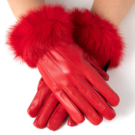 Womens Dressy Gloves Genuine Leather Thermal Lining Rabbit Fur Cuff Leather Reversible Gloves