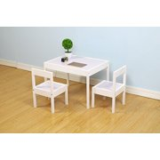 DECOMIL Kids Wooden Table and Chairs, 3 Pieces Set Includes 2 Chairs and 1 Activity Table, Picnic Table with Chairs (White)