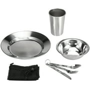 7PCS Stainless Steel 1-Person Table Set Outdoor Tableware Mess Kit Dinner Plate Bowl Cup Spoon Fork Cutter with Mesh Travel Bag for Backpacking Camping Picnic